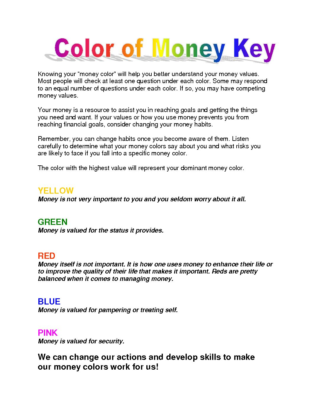 What is your Money Color - Key - Page